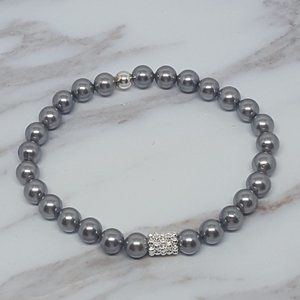 Grey Shell Pearl Elastic Bracelet & Daisy Spacer